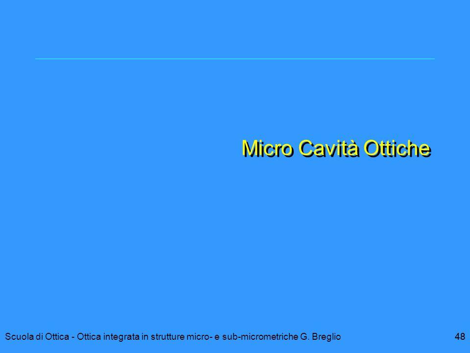 Micro Cavità Ottiche Scuola di Ottica - Ottica integrata in strutture micro- e sub-micrometriche G. Breglio.