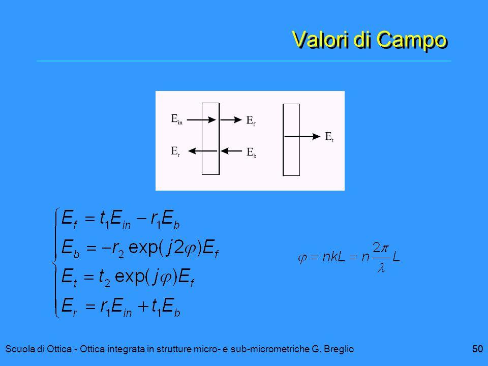 Valori di Campo Scuola di Ottica - Ottica integrata in strutture micro- e sub-micrometriche G. Breglio.