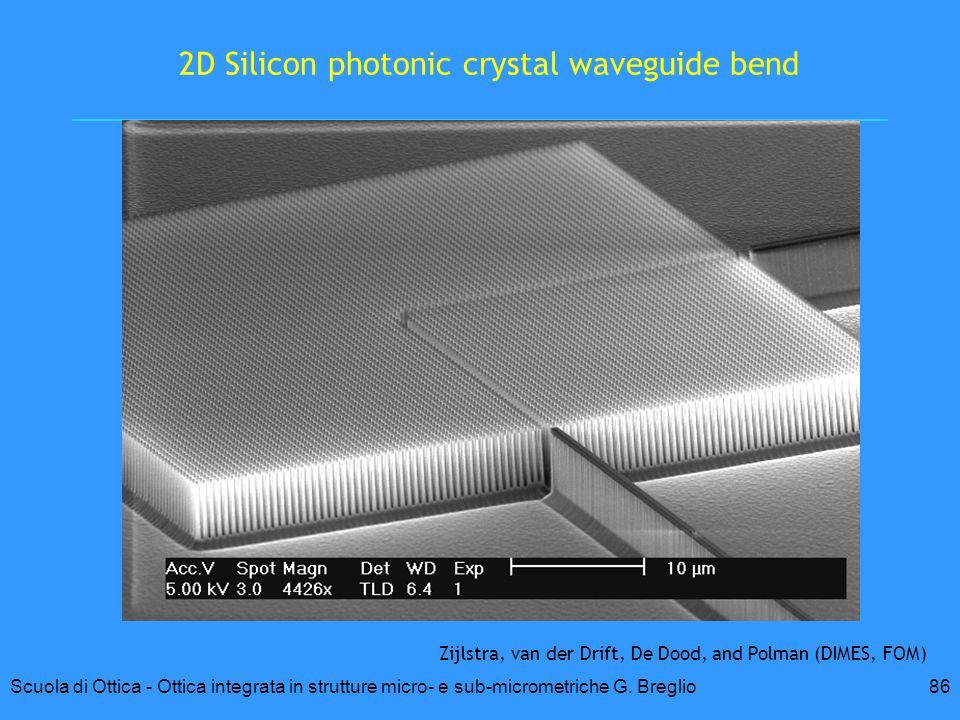 2D Silicon photonic crystal waveguide bend