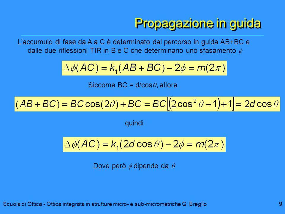 Propagazione in guida L'accumulo di fase da A a C è determinato dal percorso in guida AB+BC e.