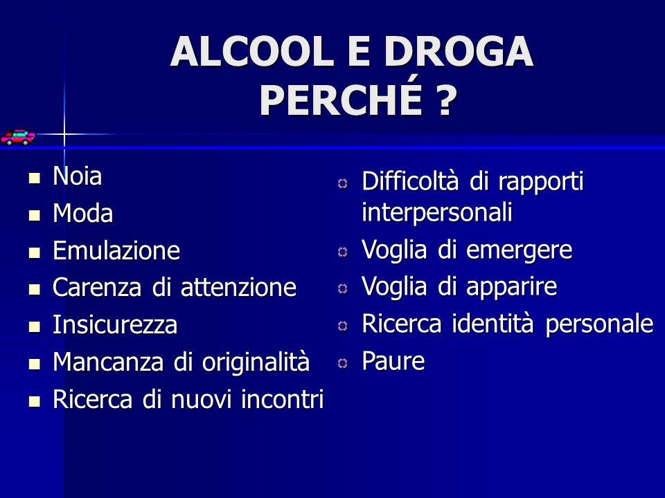 ALCOOL E DROGA PERCHÉ Noia Difficoltà di rapporti interpersonali
