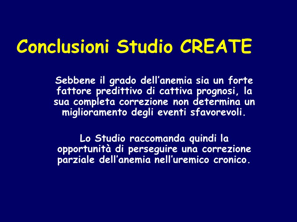 Conclusioni Studio CREATE