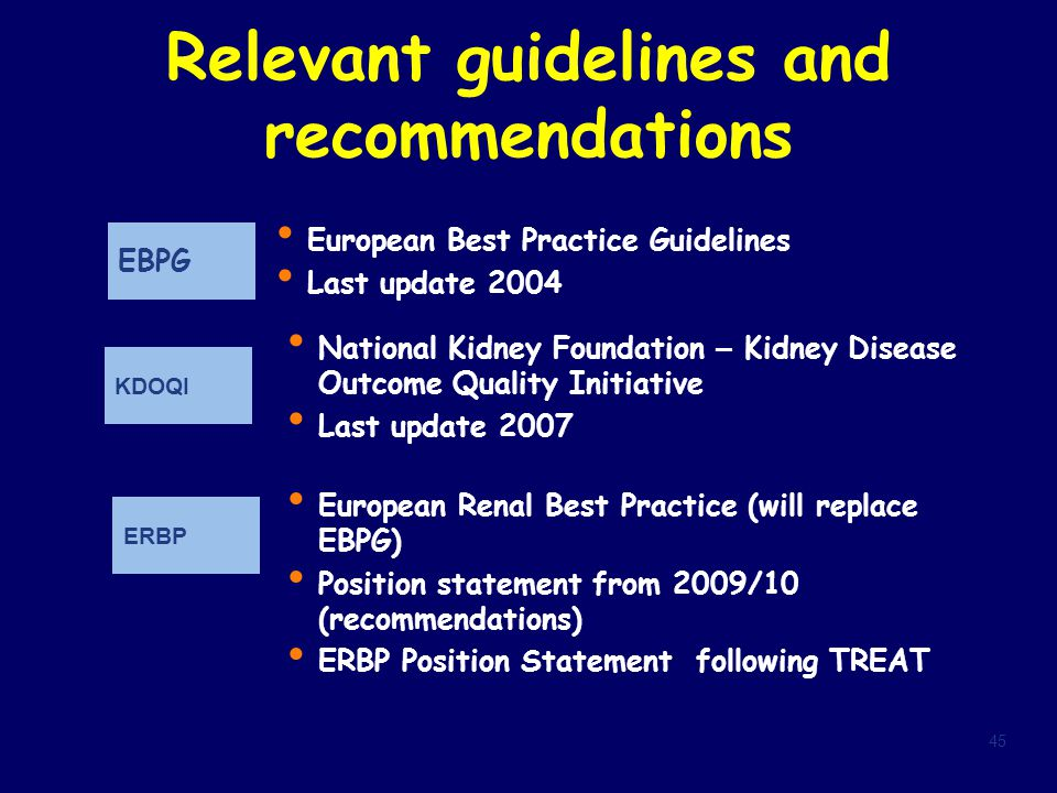 Relevant guidelines and recommendations