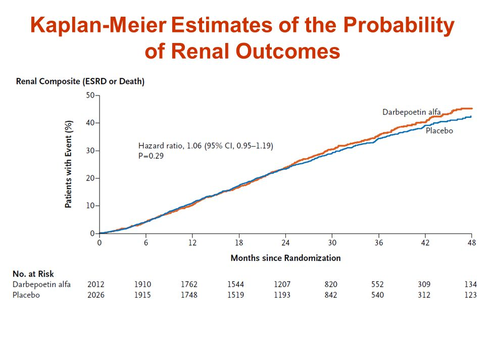 Kaplan-Meier Estimates of the Probability of Renal Outcomes