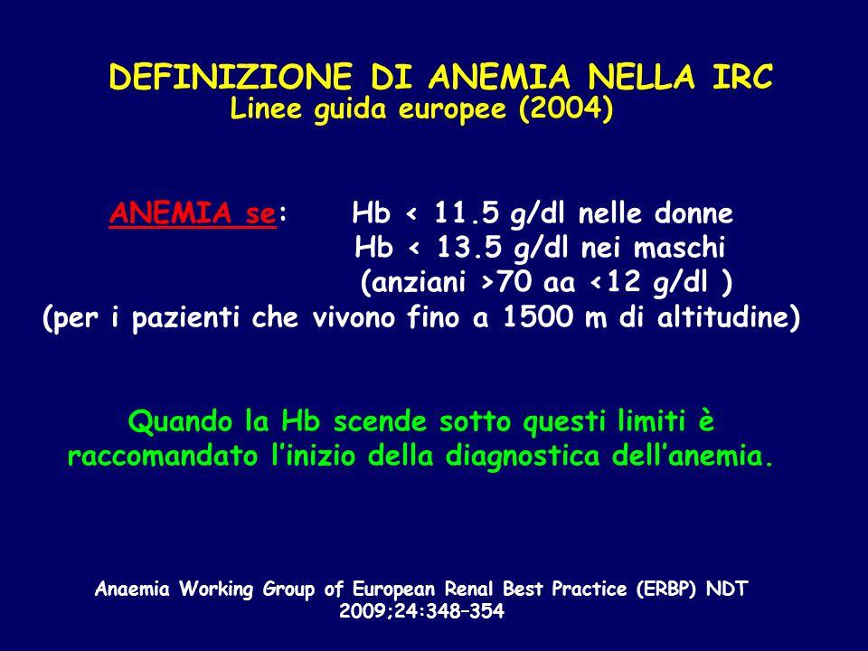 DEFINIZIONE DI ANEMIA NELLA IRC