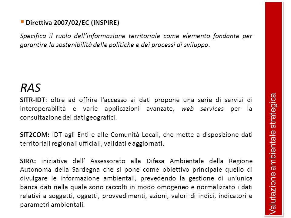 RAS Valutazione ambientale strategica Direttiva 2007/02/EC (INSPIRE)