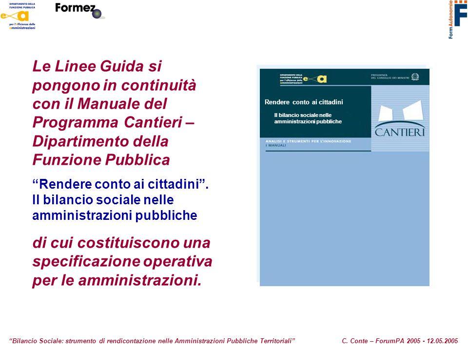 Le Linee Guida si pongono in continuità con il Manuale del Programma Cantieri – Dipartimento della Funzione Pubblica