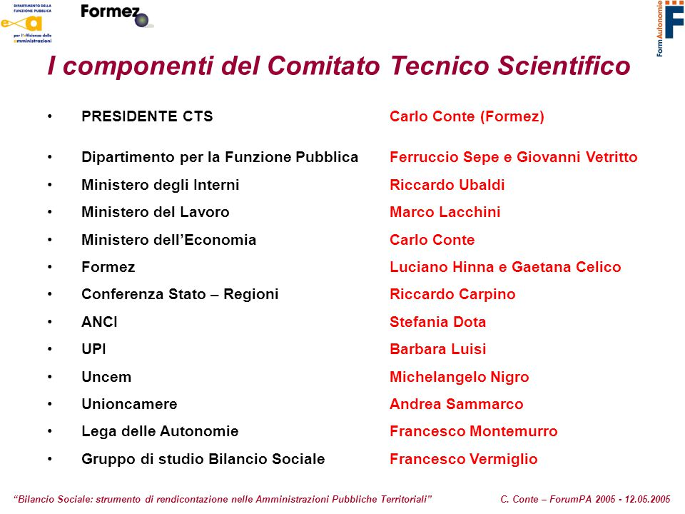 I componenti del Comitato Tecnico Scientifico