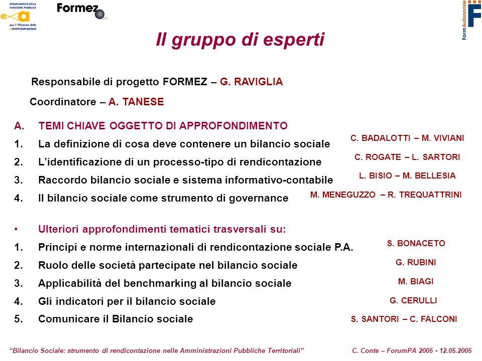 Il gruppo di esperti Responsabile di progetto FORMEZ – G. RAVIGLIA