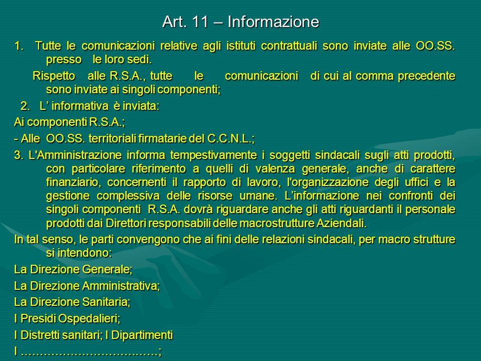 Art. 11 – Informazione 1. Tutte le comunicazioni relative agli istituti contrattuali sono inviate alle OO.SS. presso le loro sedi.