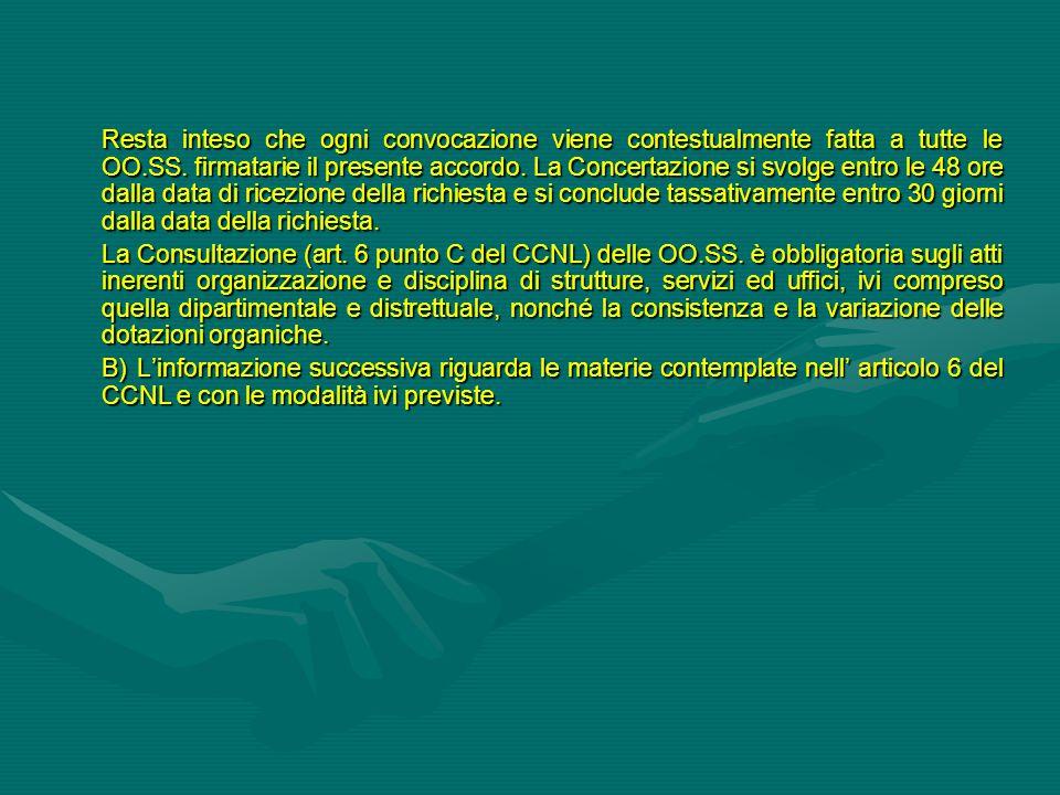 Resta inteso che ogni convocazione viene contestualmente fatta a tutte le OO.SS. firmatarie il presente accordo. La Concertazione si svolge entro le 48 ore dalla data di ricezione della richiesta e si conclude tassativamente entro 30 giorni dalla data della richiesta.
