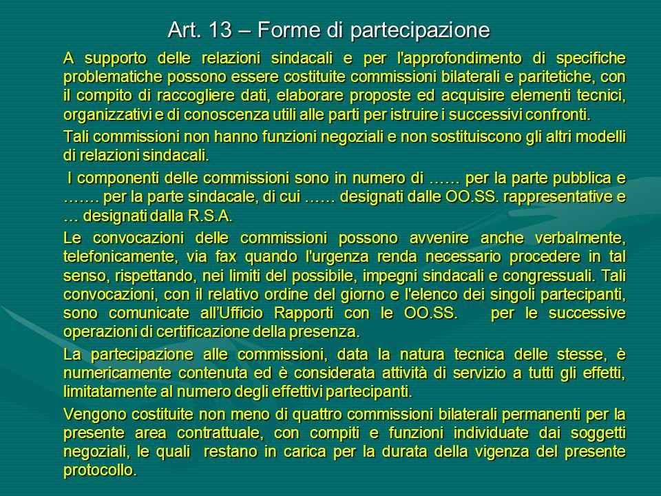 Art. 13 – Forme di partecipazione