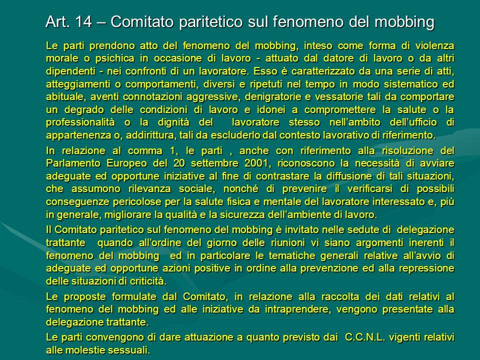 Art. 14 – Comitato paritetico sul fenomeno del mobbing
