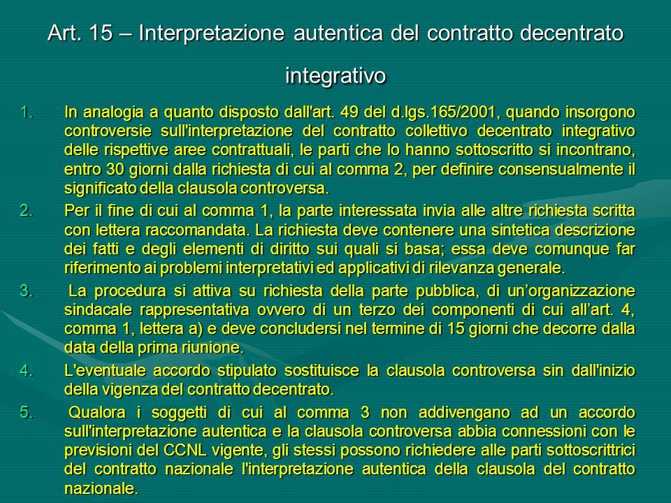 Art. 15 – Interpretazione autentica del contratto decentrato integrativo
