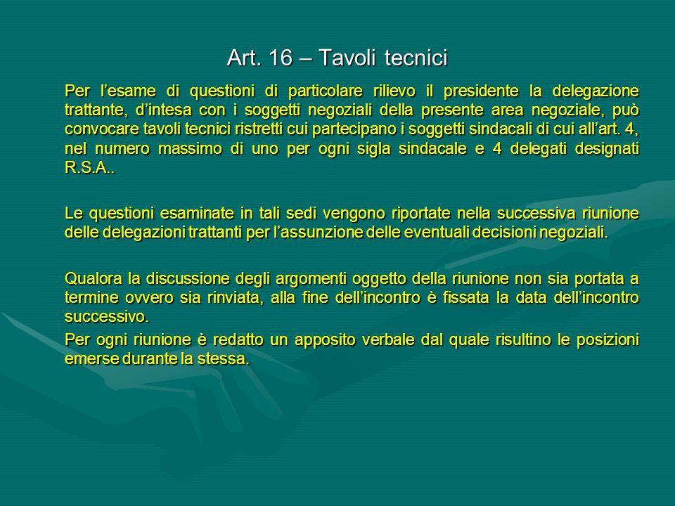 Art. 16 – Tavoli tecnici