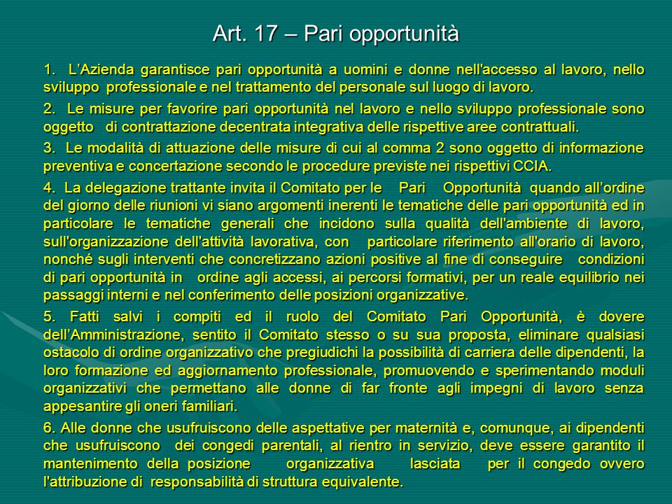 Art. 17 – Pari opportunità