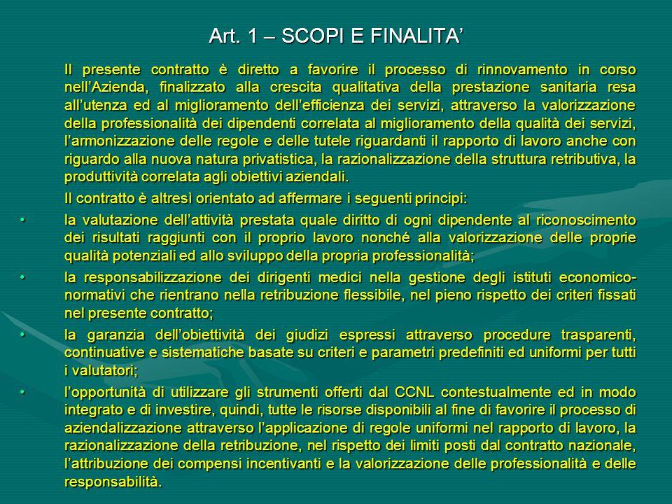 Art. 1 – SCOPI E FINALITA'
