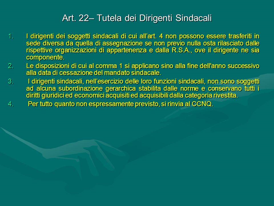 Art. 22– Tutela dei Dirigenti Sindacali