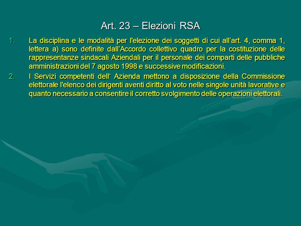 Art. 23 – Elezioni RSA