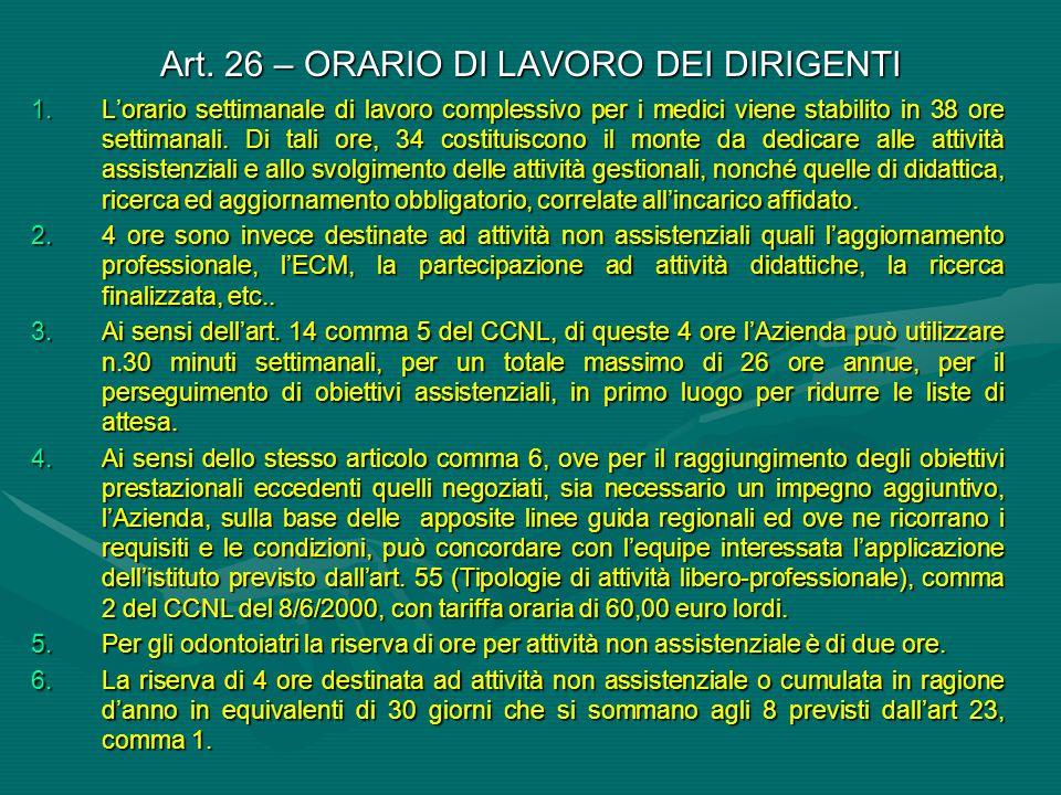 Art. 26 – ORARIO DI LAVORO DEI DIRIGENTI
