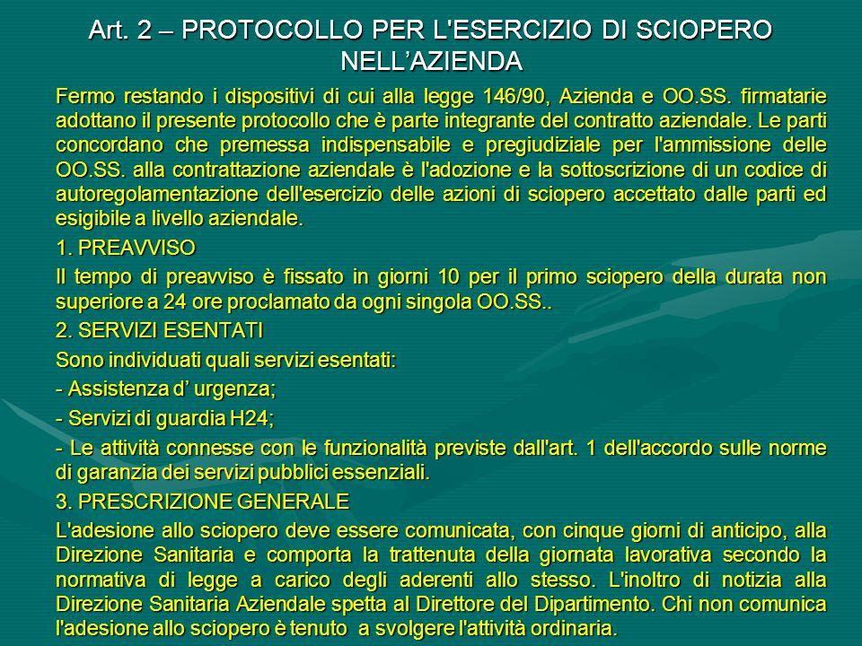 Art. 2 – PROTOCOLLO PER L ESERCIZIO DI SCIOPERO NELL'AZIENDA