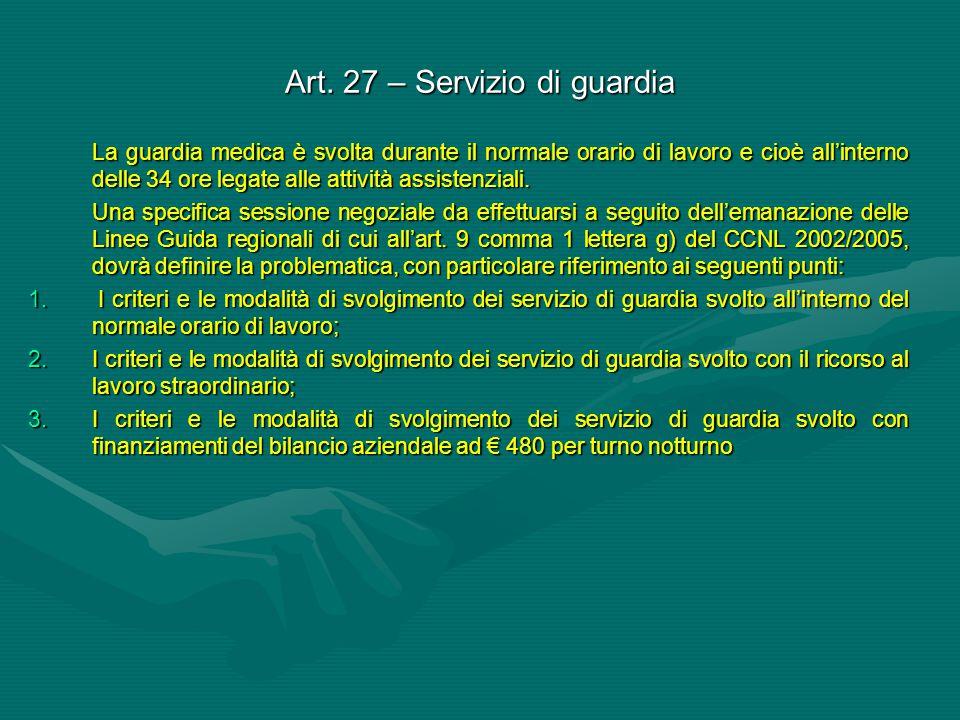 Art. 27 – Servizio di guardia