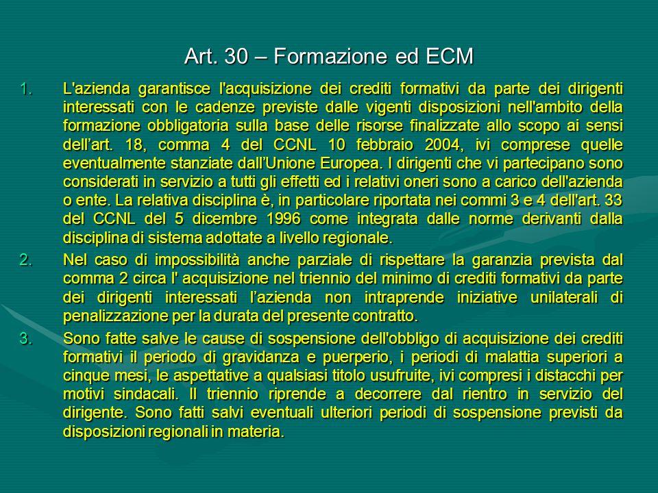 Art. 30 – Formazione ed ECM