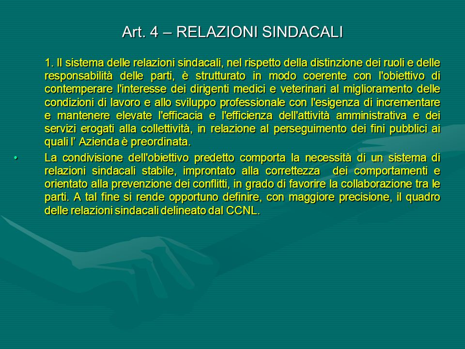Art. 4 – RELAZIONI SINDACALI