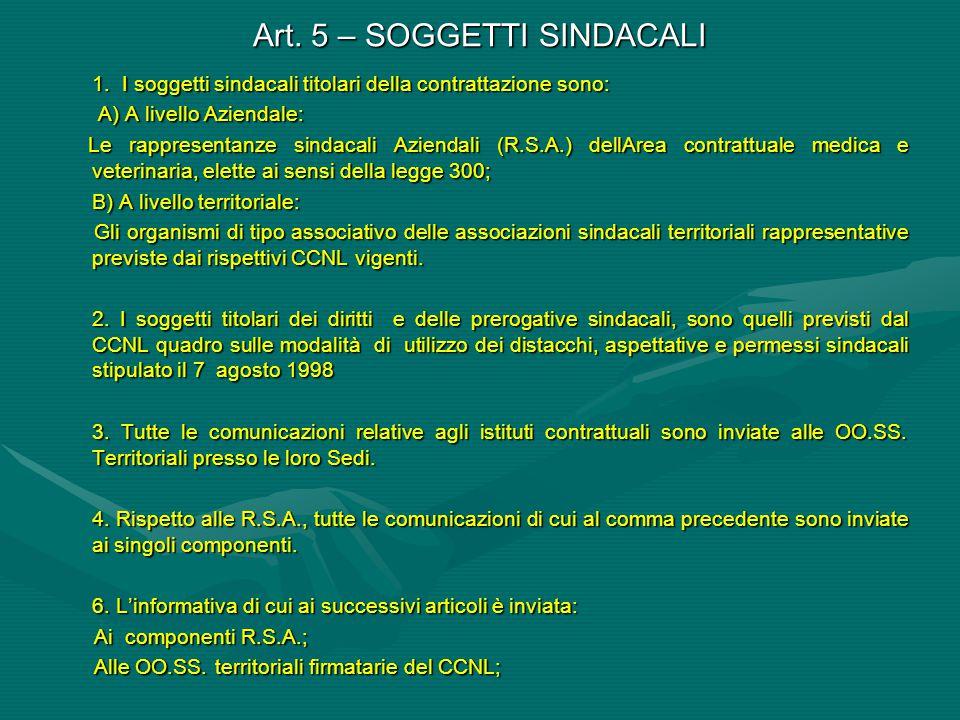 Art. 5 – SOGGETTI SINDACALI
