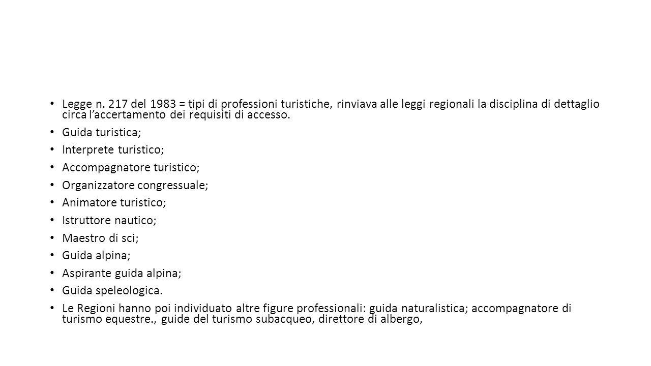 Legge n. 217 del 1983 = tipi di professioni turistiche, rinviava alle leggi regionali la disciplina di dettaglio circa l'accertamento dei requisiti di accesso.