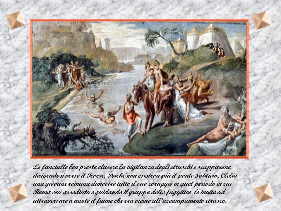 Le fanciulle ben presto elusero la vigilanza degli etruschi e scapparono dirigendosi verso il Tevere.