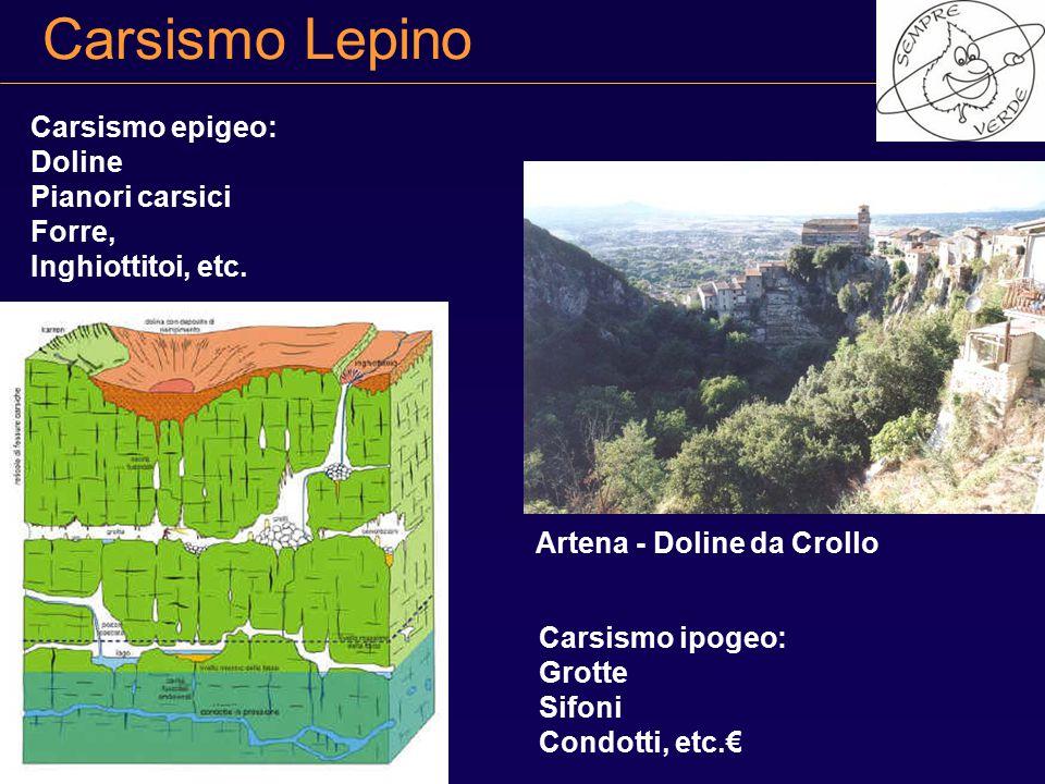 Carsismo Lepino Carsismo epigeo: Doline Pianori carsici Forre,