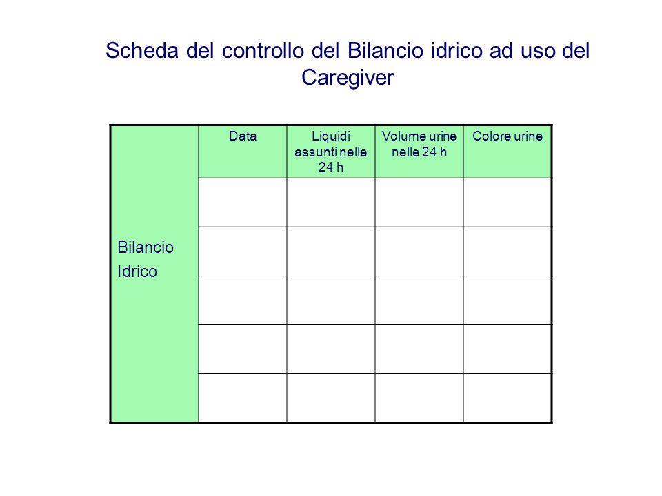 Scheda del controllo del Bilancio idrico ad uso del Caregiver