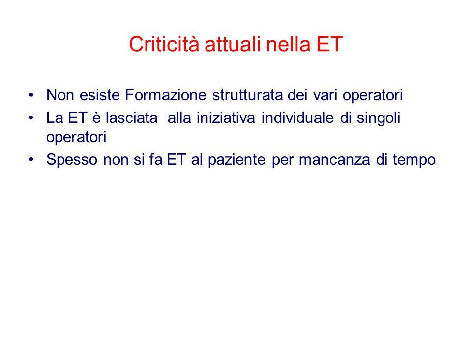 Criticità attuali nella ET