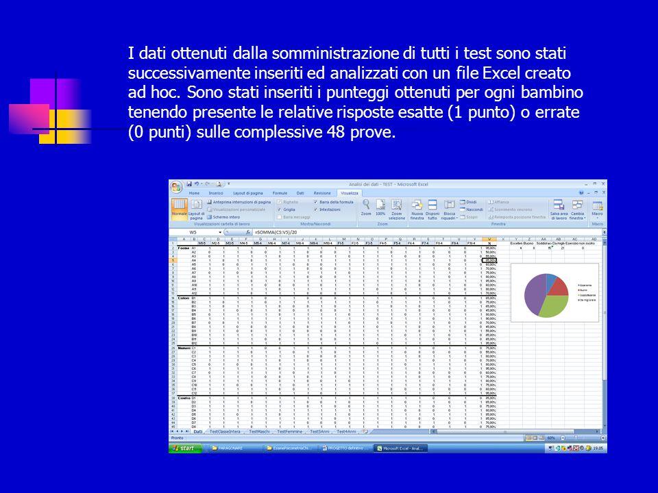 I dati ottenuti dalla somministrazione di tutti i test sono stati successivamente inseriti ed analizzati con un file Excel creato ad hoc.