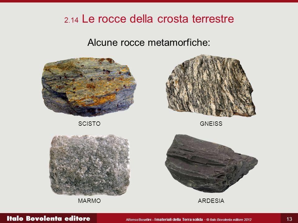 Alcune rocce metamorfiche: