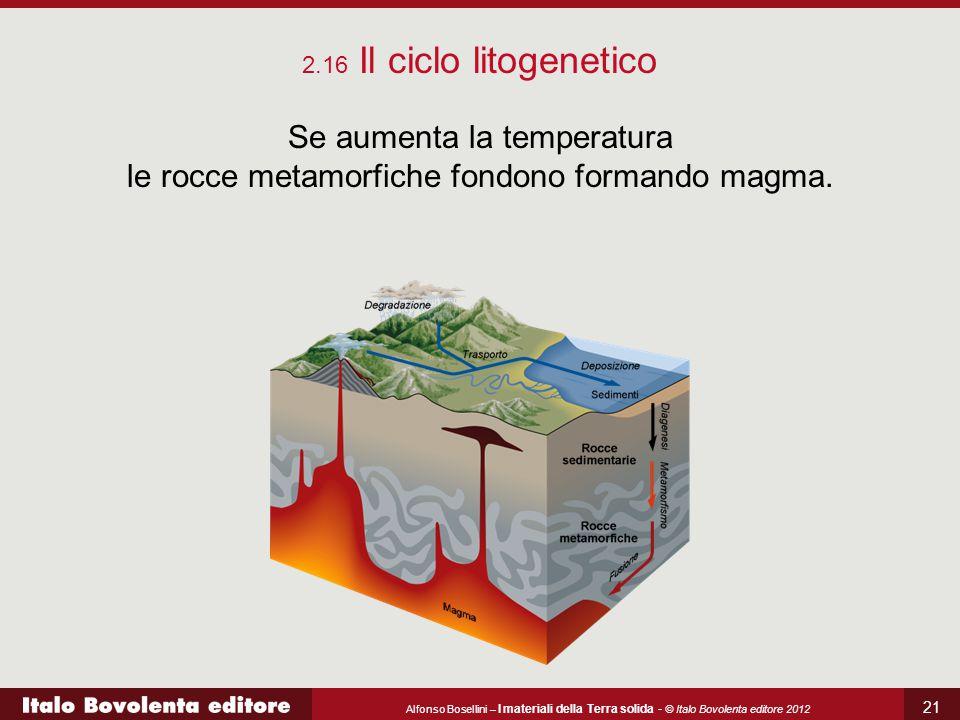 2.16 Il ciclo litogenetico Se aumenta la temperatura le rocce metamorfiche fondono formando magma.