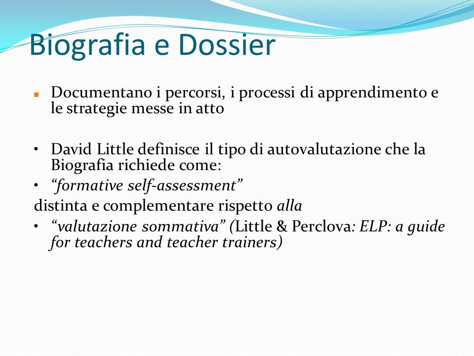 Biografia e Dossier Documentano i percorsi, i processi di apprendimento e le strategie messe in atto.