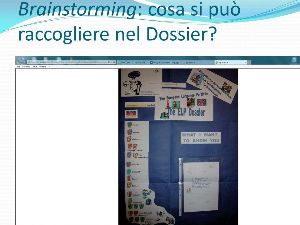 Brainstorming: cosa si può raccogliere nel Dossier