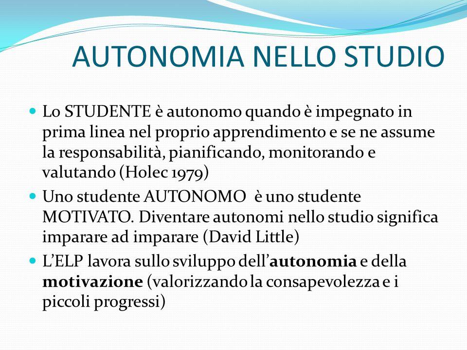AUTONOMIA NELLO STUDIO