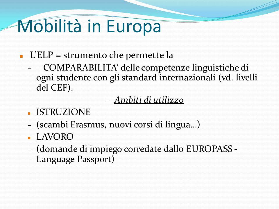 Mobilità in Europa L'ELP = strumento che permette la
