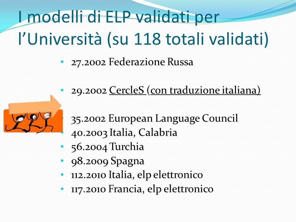 I modelli di ELP validati per l'Università (su 118 totali validati)