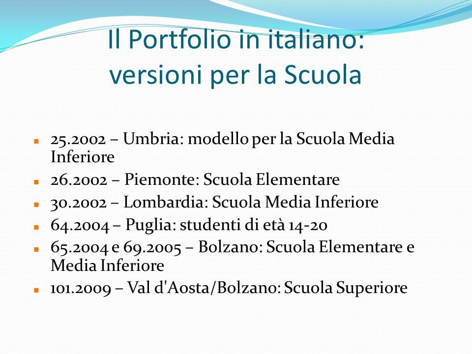 Il Portfolio in italiano: versioni per la Scuola