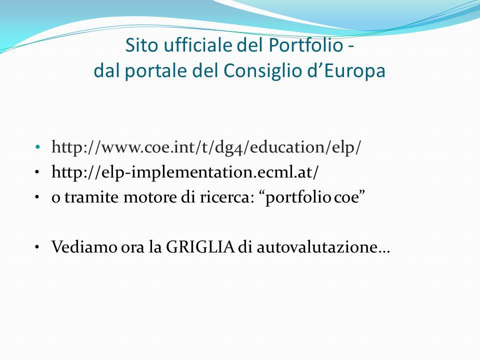 Sito ufficiale del Portfolio - dal portale del Consiglio d'Europa