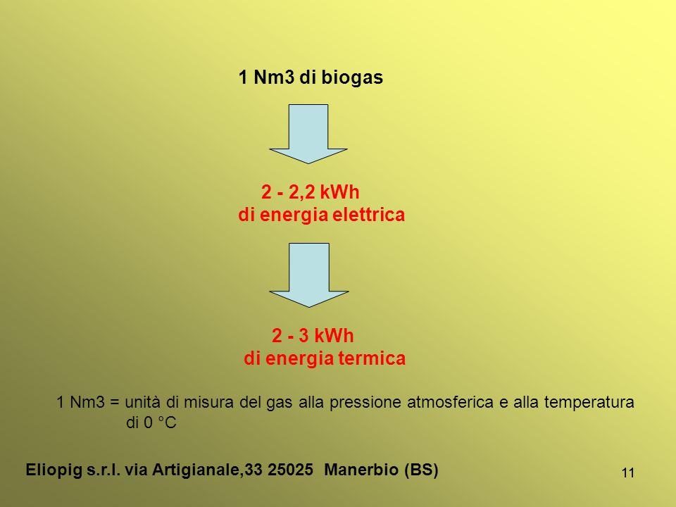 1 Nm3 di biogas di energia elettrica di energia termica 2 - 2,2 kWh