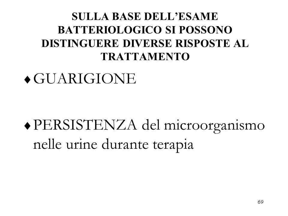 PERSISTENZA del microorganismo nelle urine durante terapia
