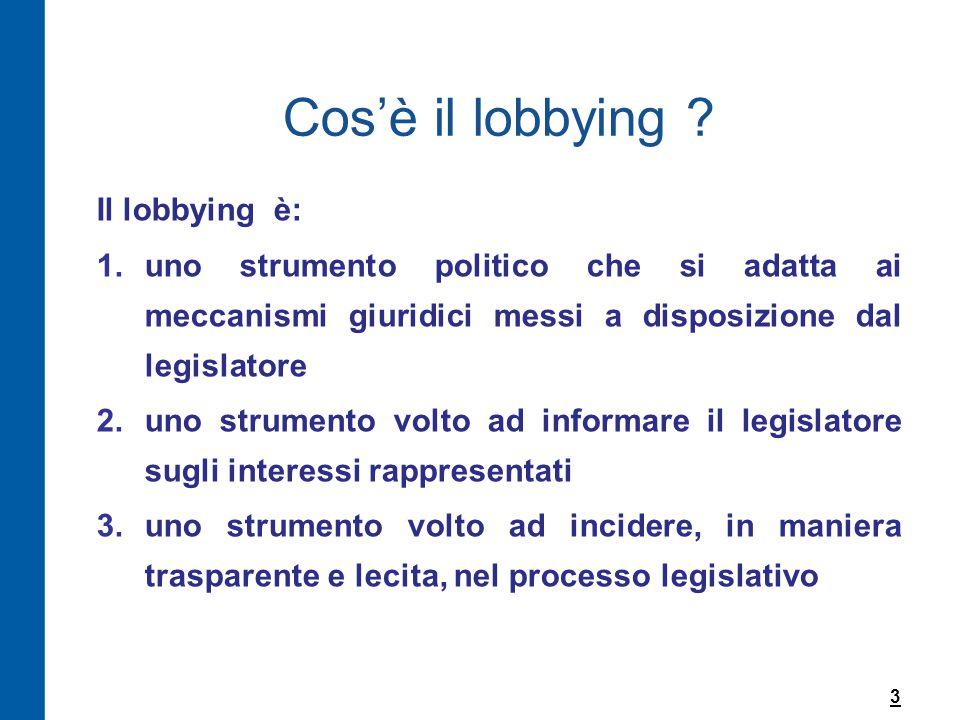 Cos'è il lobbying Il lobbying è: