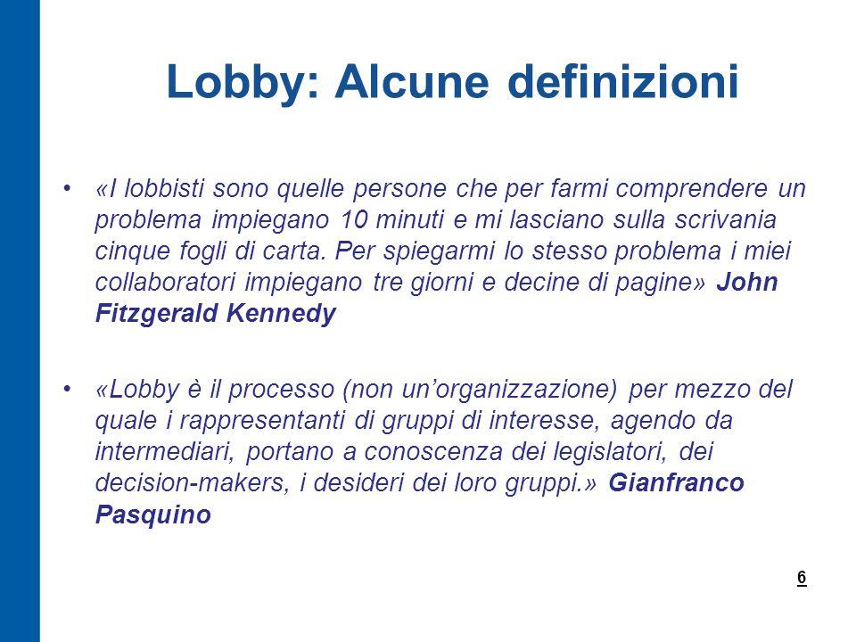 Lobby: Alcune definizioni