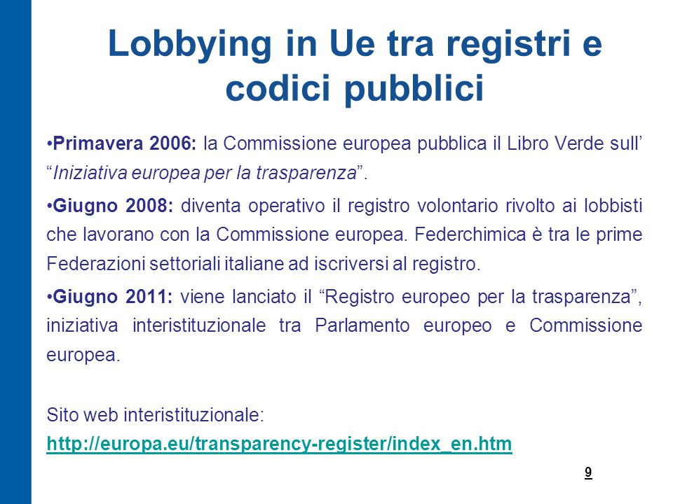 Lobbying in Ue tra registri e codici pubblici