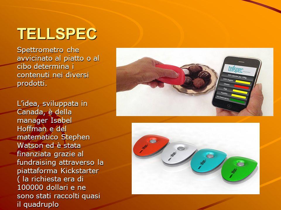 TELLSPEC Spettrometro che avvicinato al piatto o al cibo determina i contenuti nei diversi prodotti.
